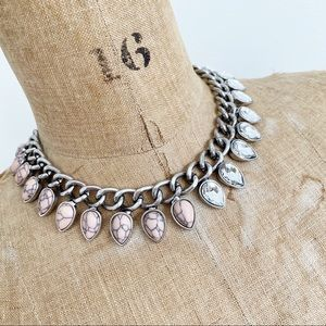 COCOA JEWELRY pink and silver spike necklace.